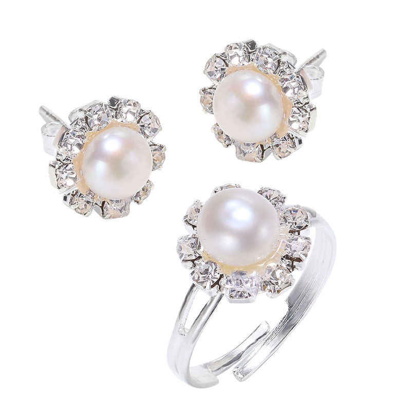 DMCSFP003 6-7mm Semi-round Pearl Jewelry Sets Pearl Earrings Pearl Ring For Women
