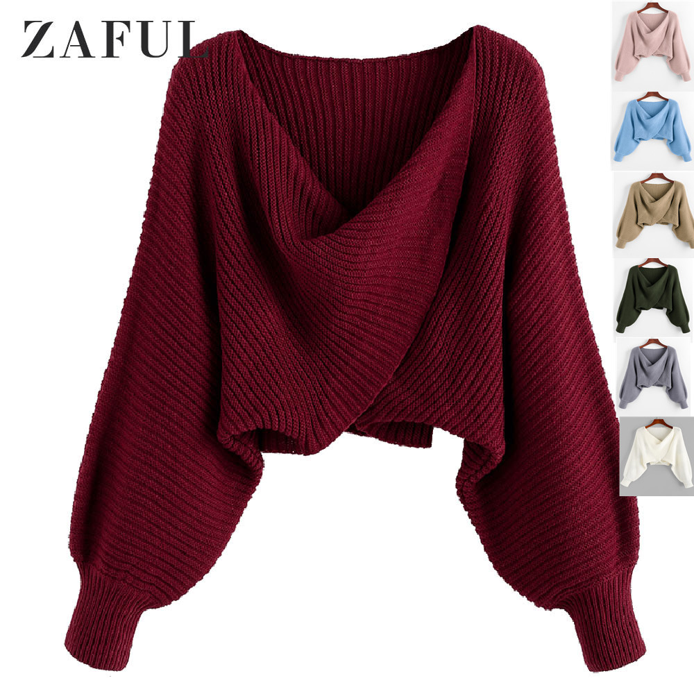 ZAFUL Twist Asymmetric Crop Sweater Women Warm Solid Pullovers Bat Sleeve Sexy Sweater 2019 Autumn Winter Casual Sweater Female