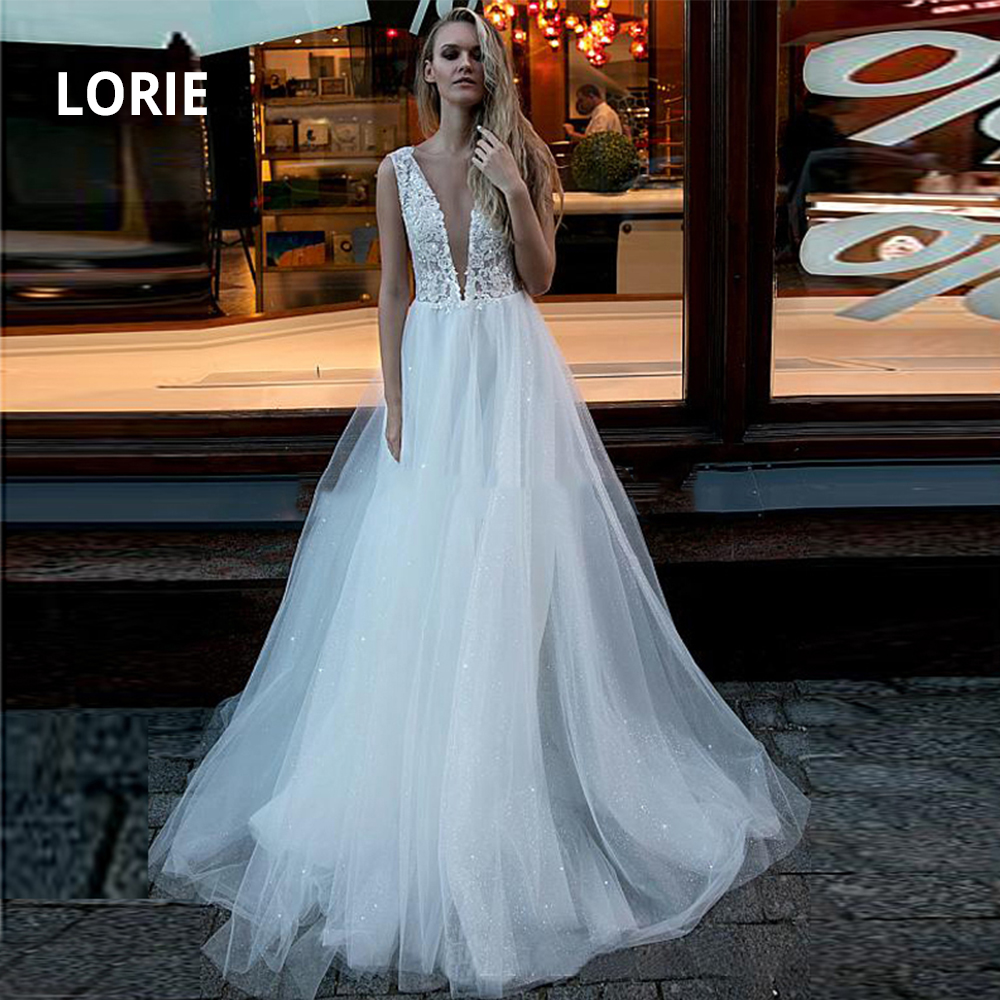 LORIE Shiny Sparkling Soft Tulle Boho Wedding Dresses Lace For Girls 2020 Deep V-neck Sleeveless Beach Bridal Gowns No Train