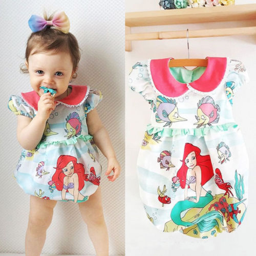 New Arrival Princess Cartoon Bodysuits Summer Baby Girls Mermaid Sleeveless Bodysuit Jumpsuit Toddler Fashion Outfit Clothes