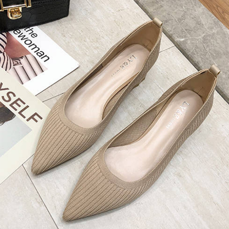Women High Heels Knitting Autumn Sexy Shallow Mouth Pointed Toe Closed Toe Comfort Slip-On Office Pumps Stiletto Shoes 79