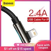 Baseus-Cable USB para iPhone 12 11 Pro Max XR 8 Plus, Cable de carga rápida 2.4A para iPhone X 7, Cable de juego de carga rápida