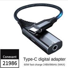 Usb DAC Typ C Zu 3,5 Jack Typ C Audio Splitter Kopfhörer Kabel Kopfhörer Aux Adapter Schnelle Ladung pd60w mobile telefon soundkarte