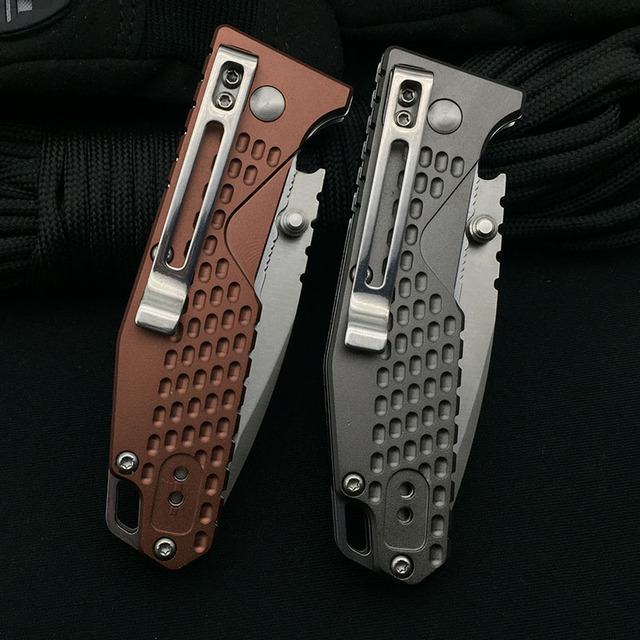 Sanrenmu 7063 Folding Knife 8Cr14Mov Blade Aluminum Alloy Handle Outdoor Camping Hunting Cutting Survival Fruit Kitchen EDC Tool 6