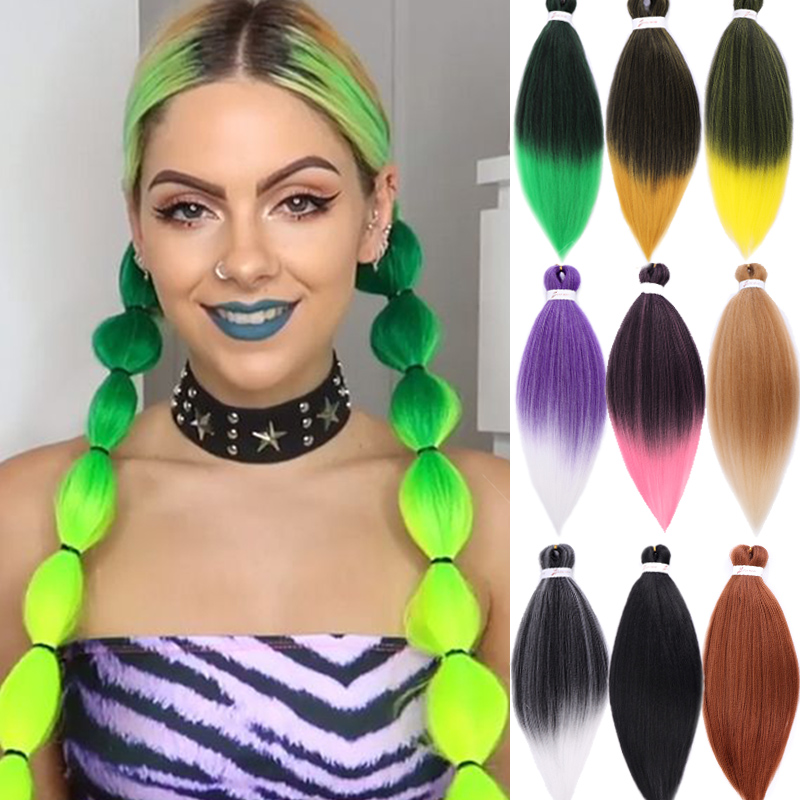 "LUPU 26"" Synthetic Kanekalon Braiding Hair Pre Stretched Yaki Jumbo Braid Purple Pink Green High Temperture Fiber For Women"