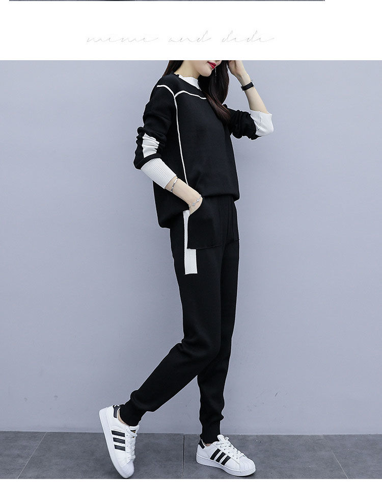 2019 Autumn Black Knitted Two Piece Sets Outfits Women Plus Size Long Sleeve Tops And Pants Suits Casual Fashion Korean Sets 30