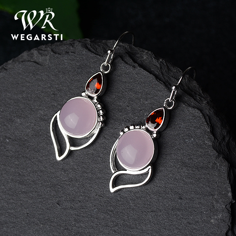 WEGARSTI S925 Sterling Silver Women's Wedding Engagement Earrings Solid Rose Quartz Earrings Wholesale Fine Jewlery Gifts
