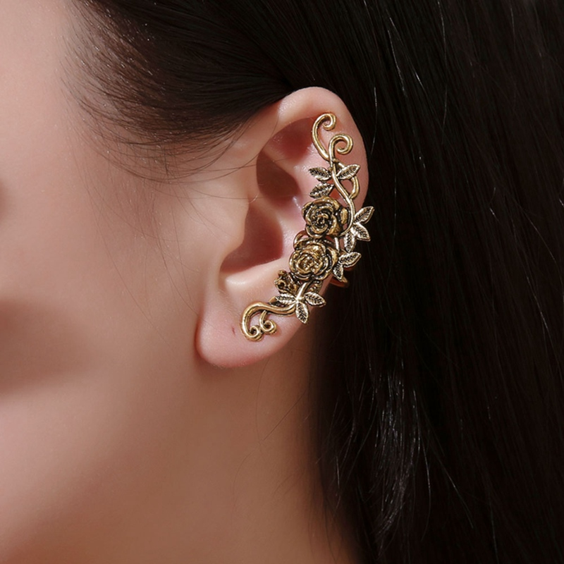 1Piece Women Carved Rose Flower Ear Cuff Clip On Earring No Piercing Helix Jewelry