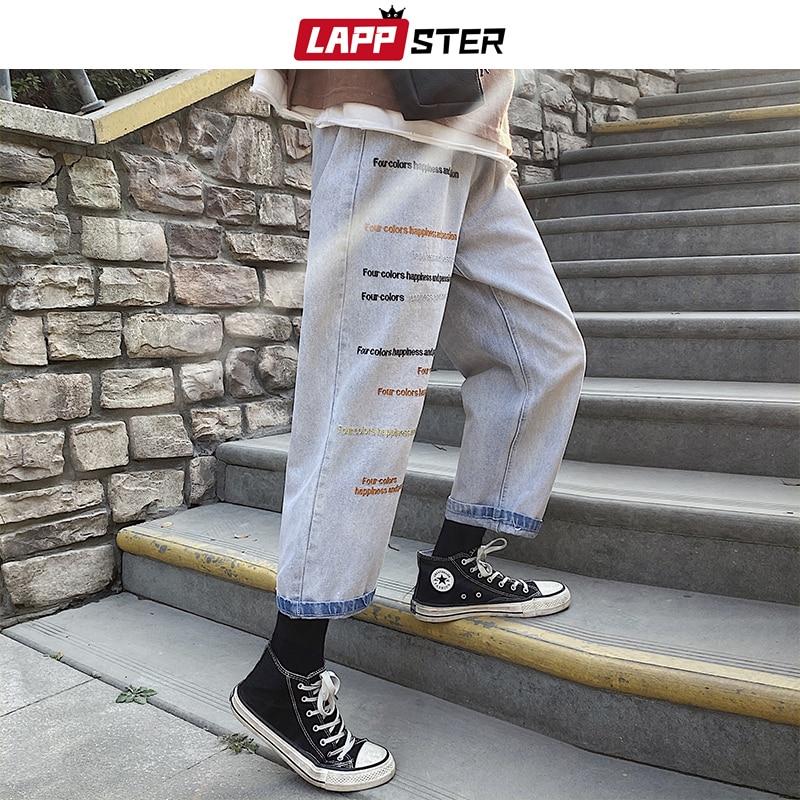 LAPPSTER Men Embroidery Korean Jeans Pants 2020 Mens Japanese Streetwear Blue Denim Pants Male Fashions Harem Pants Plus Size