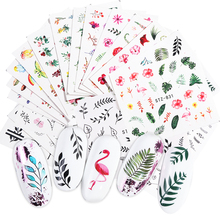29pcs New Nail Art Stickers Lot Black Leaf Floral Flamingo Water Decals Manicure Decorations For Nails Summer Sliders Foil TR764