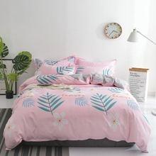 цена на Bedding Set 4Pcs/Set Bed Textile Small Fresh Cute Print Cover Flat Bed Sheet Pillowcase Comfort Bed Set Kit Printed Modern