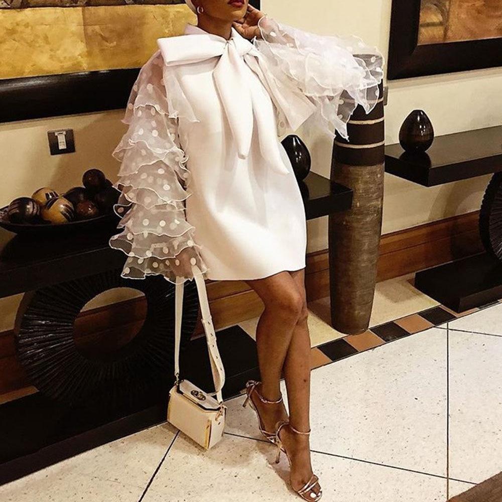 Plus grande taille élégante fête Orange blanc Mini robes Vintage femmes arc à pois maille à volants à manches longues robe courte dames