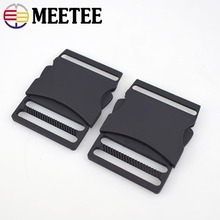 Meetee 2pcs 40MM Metal Release Buckles Adjustable Side Pets Collar Clasp Outdoor Backpack Belt Webbing DIY Bag Accessories AP474