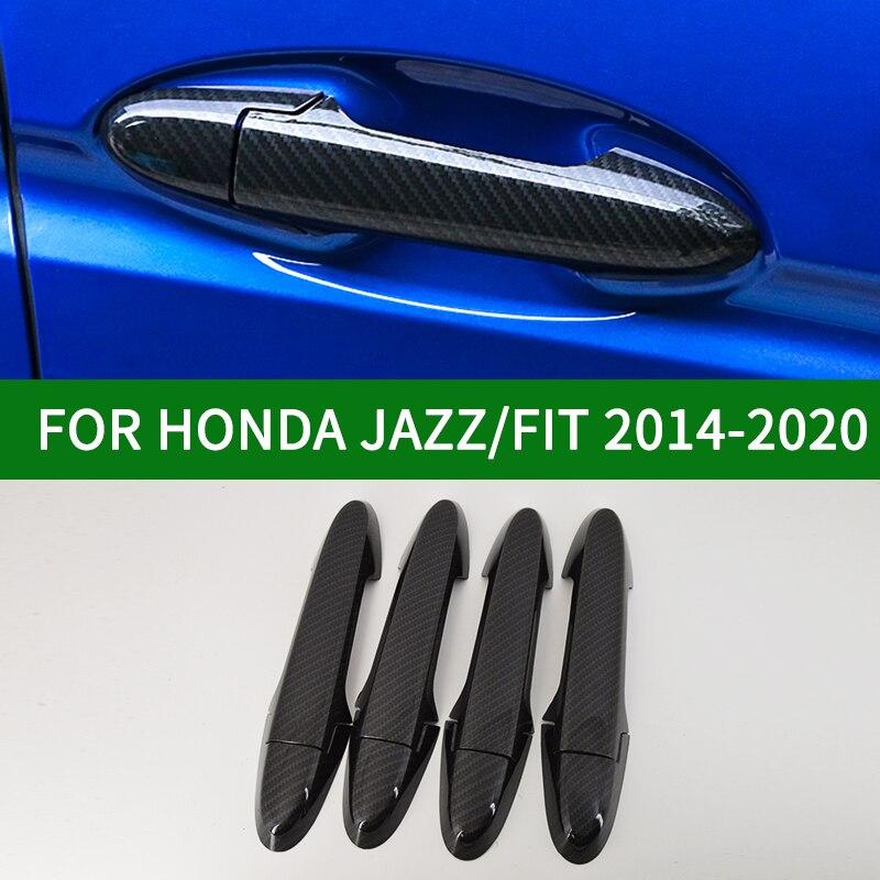 Обшивка ручки боковой двери из углеродного волокна для Honda JAZZ FIT 2014 2015 2016 2017 2018 2019 2020