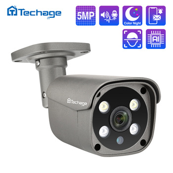 Techage H.265 5MP Security POE IP Camera Human Detection Outdoor Two Way Audio Video Surveillance AI ONVIF for NVR System - discount item  56% OFF Video Surveillance