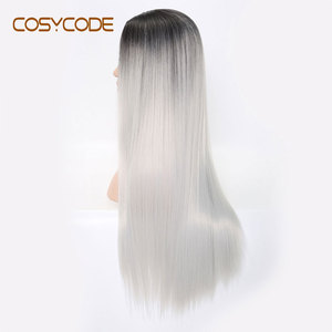 Image 2 - COSYCODE синтетический длинный прямой парик для женщин, 24 дюйма, средняя часть, серебристый, не кружевной, косплей, костюм, парик, термостойкий, Хэллоуин