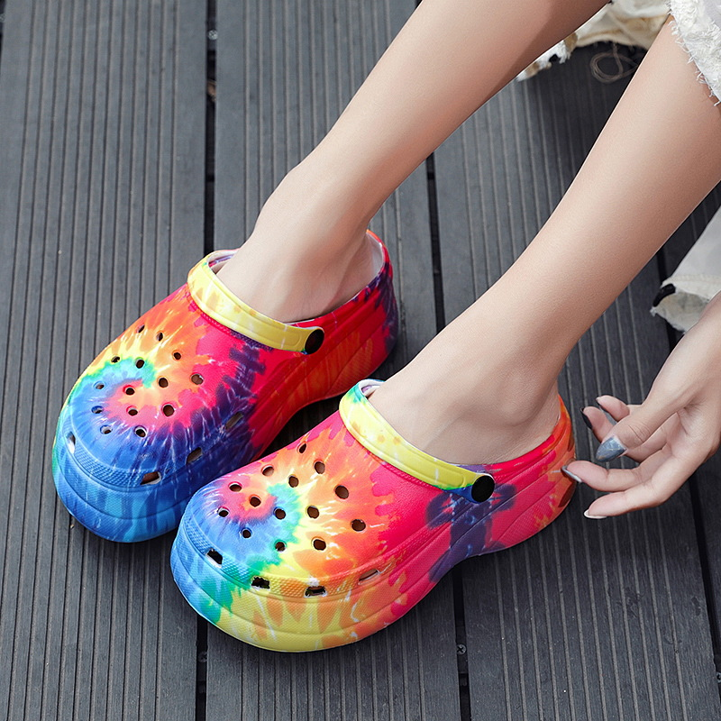 Summer New Woman Shoes Hole Slippers High Heel Sandals Fashion Outdoor Beach Shoes Zapatos Mujer Snake Print Heels for Women