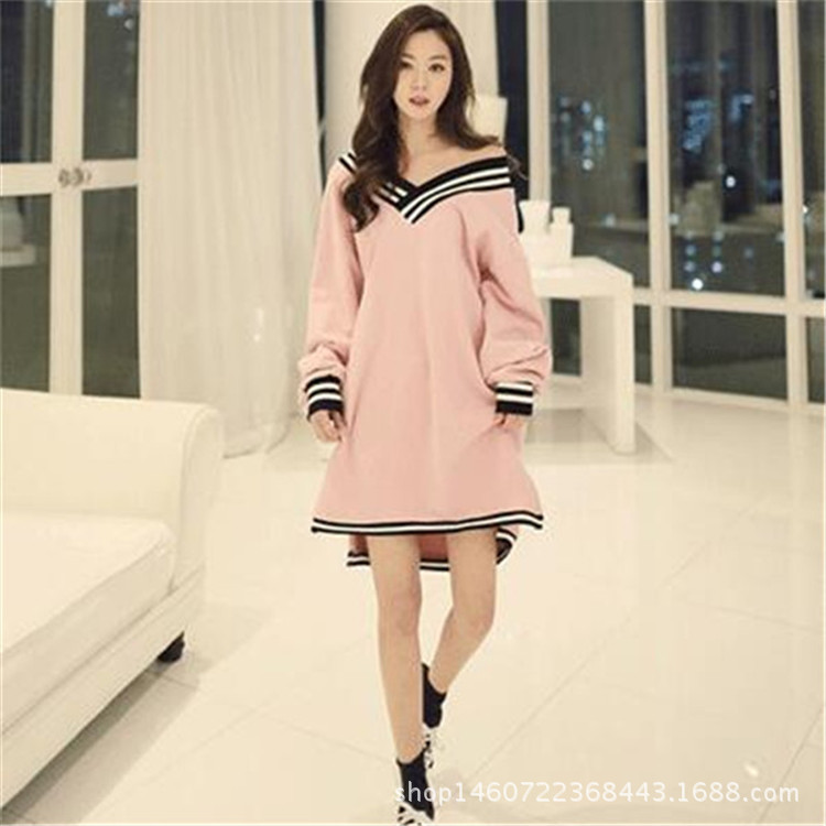 Nightgown Women's Autumn Long Sleeve Pure Cotton Sexy V-neck Korean-style Fresh And Lovely Spring And Autumn Mid-length-Outer We