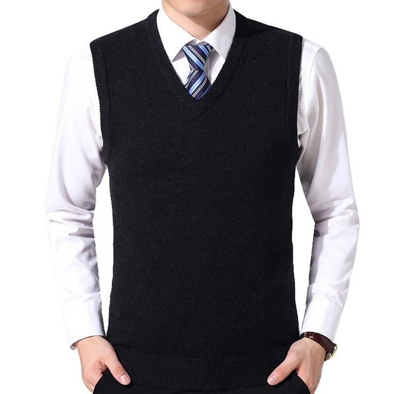 Fashion Vests Men's Sweater Vest Men's Solid Color Wool Casual Pullover Knit V-Neck Sweater 2019 New J666