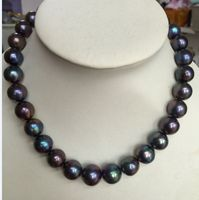 huge 12 14mm freshwater round black blue red pearl necklace 18inch 925silver