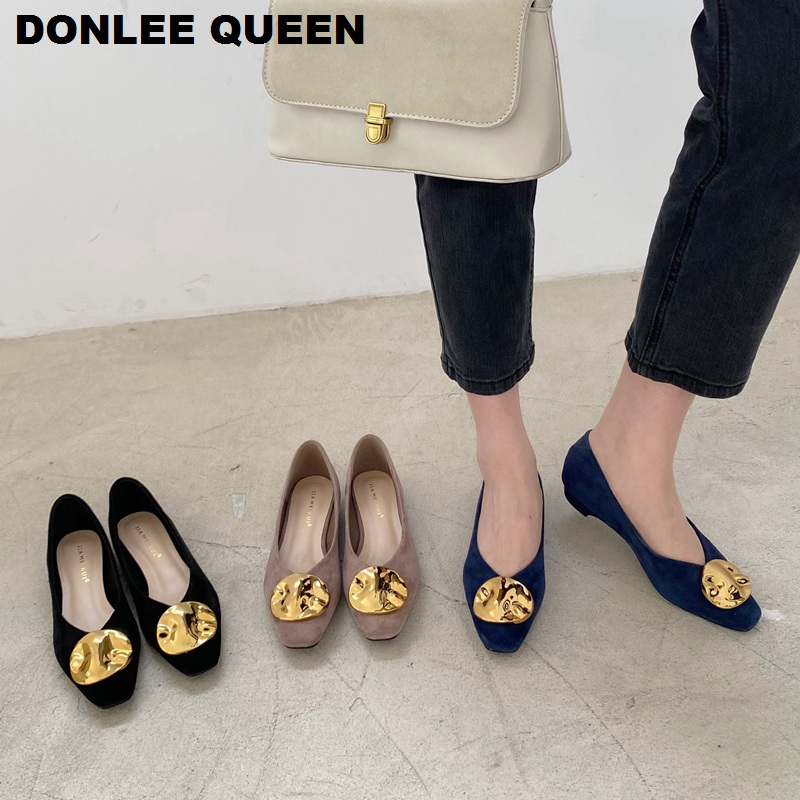 Women Flats Shoes 2020 New Fashion Metal Buckle Flat Heel Shoes Suede Shallow Woman Ballet Flat Soft Pregnant Woman Loafer Shoes