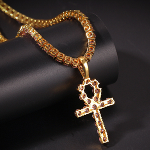Image 5 - UWIN 4mm Pink Iced Ankh Cross Pendant Cubic Zirconia Tennis Chains Gold Silver Color Necklace Colored Fashion Hiphop Jewelry