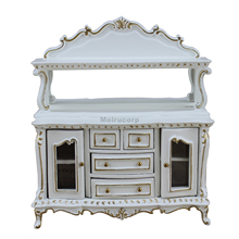 Dollhouse Miniature Furniture White Hand Gilt Dining Room Side Cabinet for 1/12 Scale
