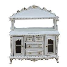 Muebles en miniatura para casa de muñecas, armario lateral dorado a mano blanco para comedor a escala 1/12
