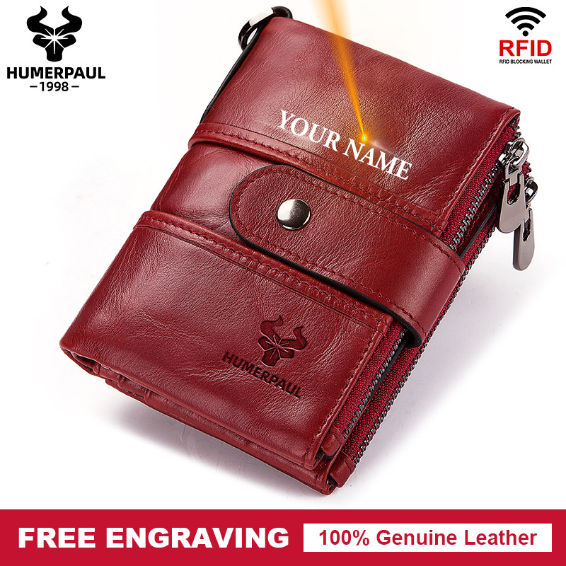 Free Engraving Name Cow Genuine Leather Women Wallet Female Coin Purse Chain Small Card Holder Vintage PORTFOLIO Portomonee HaspWallets   -