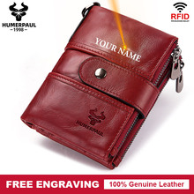 Free Engraving Name Cow Genuine Leather Women Wallet Female Coin Purse Chain Small Card Holder Vintage PORTFOLIO Portomonee Hasp