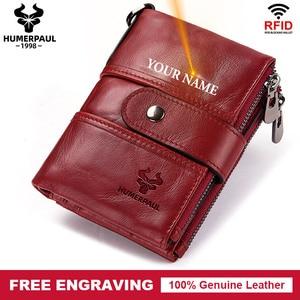 Image 1 - Free Engraving Name Cow Genuine Leather Women Wallet Female Coin Purse Chain Small Card Holder Vintage PORTFOLIO Portomonee Hasp