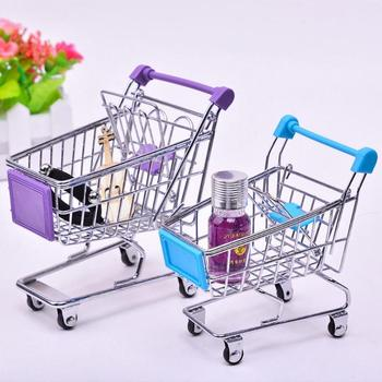 Mini Baby Trolley Supermarket Handcart Toy Carts Storage Folding Shopping Cart Basket Toys Boys 3 Colors Furniture Accessories image