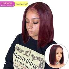 Perruque courte Bob brésilienne droite Remy cheveux humains perruques 150% densité 4*4 pré plumé bordeaux rouge 99j Bob dentelle avant perruques