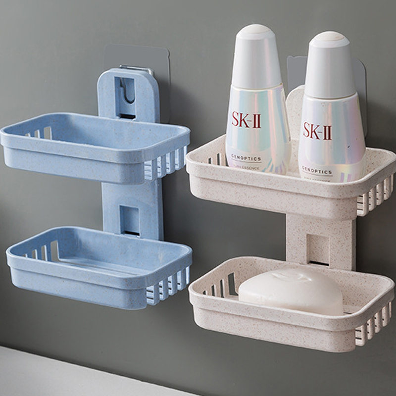 2019 Bathroom Suction Cup Soap Dishes Plastic Holders Wall-mounted Double-deck Creative Drainage Soap Storage Double Racks U3