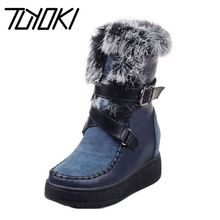 Tuyoki Women Mid Calf Snow Boots Metal Buckle Thick Fur Platform Trifle Winter Shoes Warm Bota Woman Footwear Size 33-40