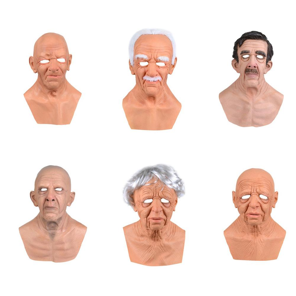 Halloween Mask Realistic Old Man Face Cover Cosplay Props Realistic Old Man Mask The Elder Latex Realistic Male Head Masks