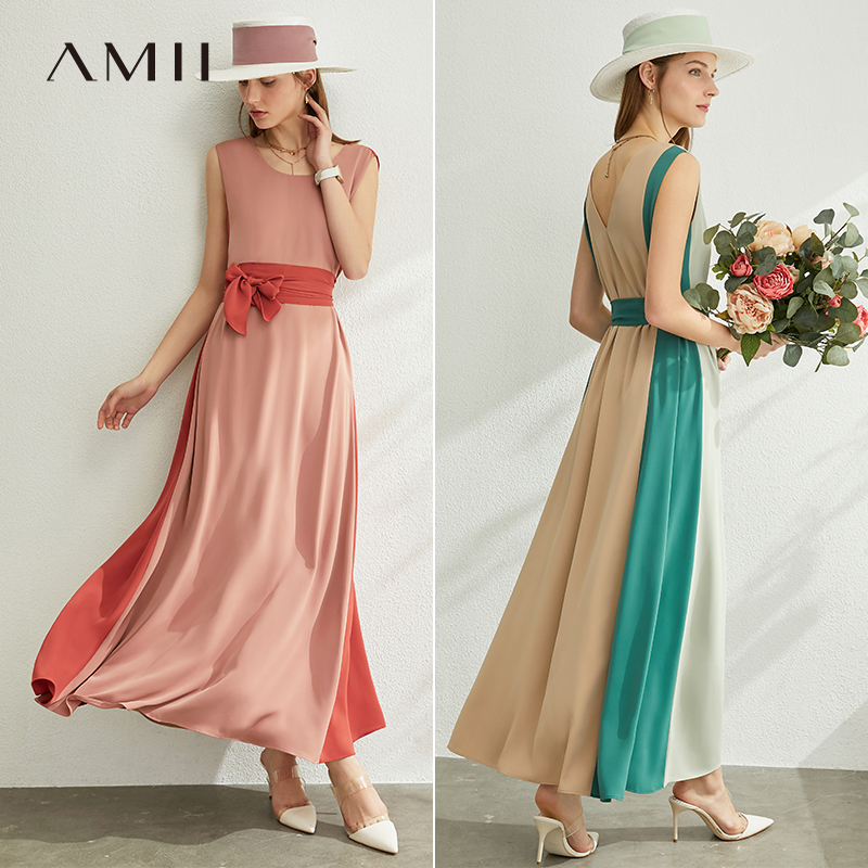 AMII Minimalism Spring Summer Splice Loose Women Dress Causal Onck High Waist Belt Ankel-Length Female Dress 12090006