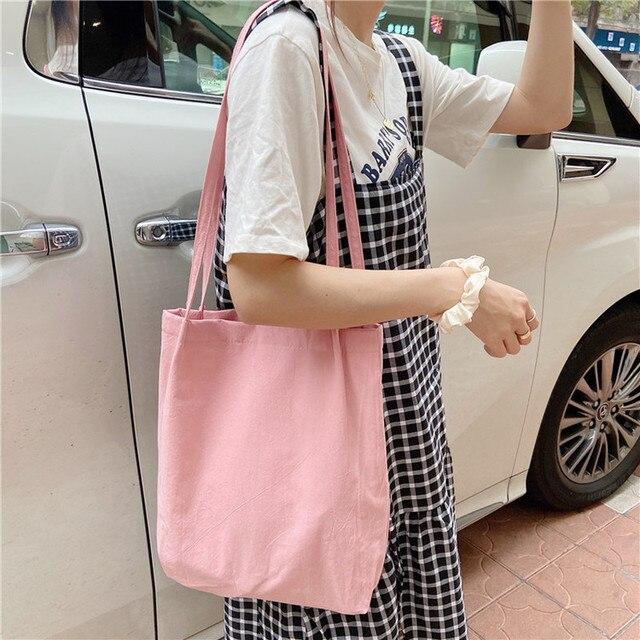 Women Canvas Shoulder Shopper Bags Eco Reusable Shopping Bag Cotton Cloth Tote Bags for Women 2020 Grocery Bag Ladies Handbags 5