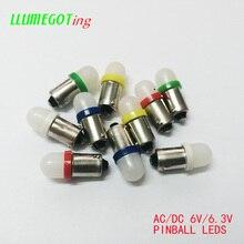 50 шт. BA9S T4W #44 #47 молочно белый купол 2x 5630SMD различные цвета неполярность AC DC 6V 6,3 V Bally Pinball Игровая Машина светодиодные лампы