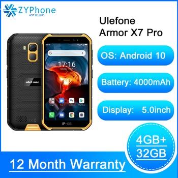 Перейти на Алиэкспресс и купить Водонепроницаемый смартфон IP68 на Android 10, Защищенный телефон, 4 Гб ОЗУ, NFC, 4G, LTE, 2,4G/5G, WLAN, сотовый телефон, Ulefone Armor X7 Pro