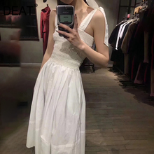 DEAT 2020 summer new Sweet High quality cotton tie knot wrapped chest women Long strap dres