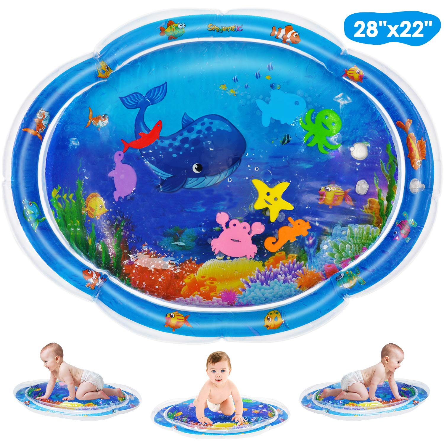 Baby Water Mat Newest Inflatable Baby Activity Play Mat For Newborn Fun Time Sensory Toys For Baby's Stimulation Growth BPA Free
