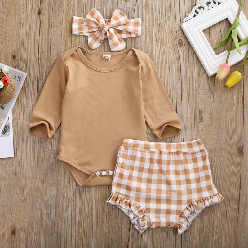 Pudcoco Kid Casual Clothing Set 100% Cotton 3Pcs Baby Toddler Girls Kids Plaid Shorts+Bow Headband+Bodysuit Clothes Outfits