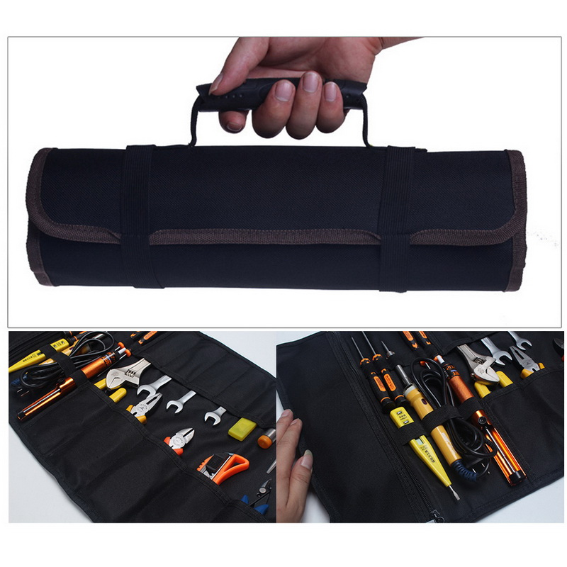 Junejour Tool Stroage Pouch Electricians Organizer Tool Rolling Bag Reel Professional Multi-purpose Car Repair Kit Bag