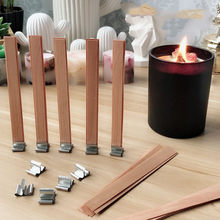20Pcs Wooden Wick Candle with Sustainer Base Tab Candle Wick Core for DIY Candle Making Pick Supply Soy Parffin Wax 9/13/15cm