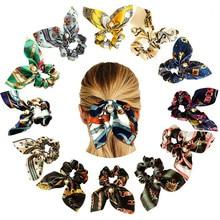 2019 New Fashion Chiffon Silk Sweet Bow Hair Scrunchies Women Pearl Headgear Rabbit Ponytail Accessories