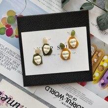Sweet Acrylic INS Cartoon Mask Simple 2019 Women Dangle Drop Earrings Fashion Jewelry Holiday Korean Japan-JQD5
