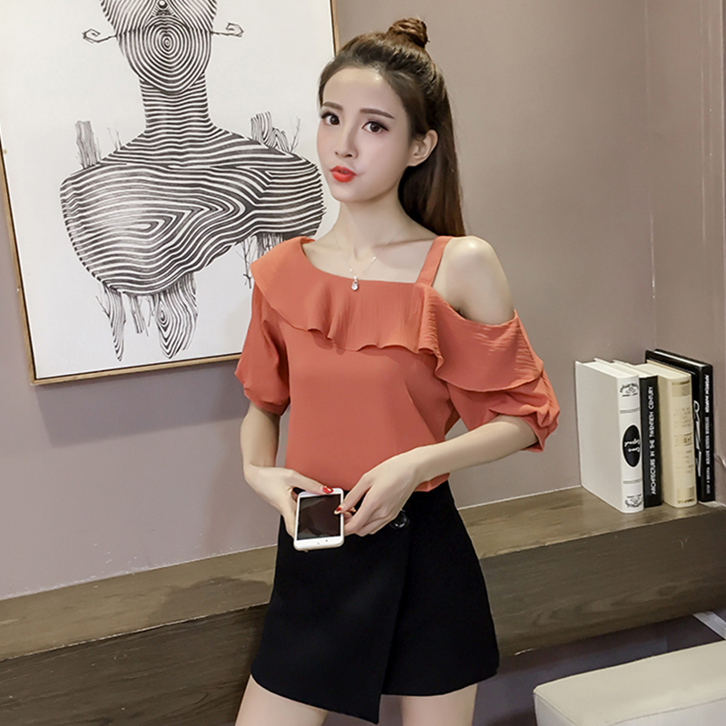 New Spring Fashion Sexy Style Solid Women Shirts Women Tops Short Sleeved Blouses Ruffles Casual Women Clothing D546 30 5