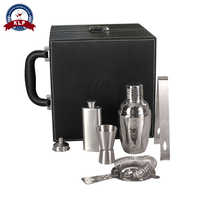 Cocktail Bar Set With Leather Case Including Jigger Hip Flask Strainer Funnel Ice Tongs Cocktail Shaker Set