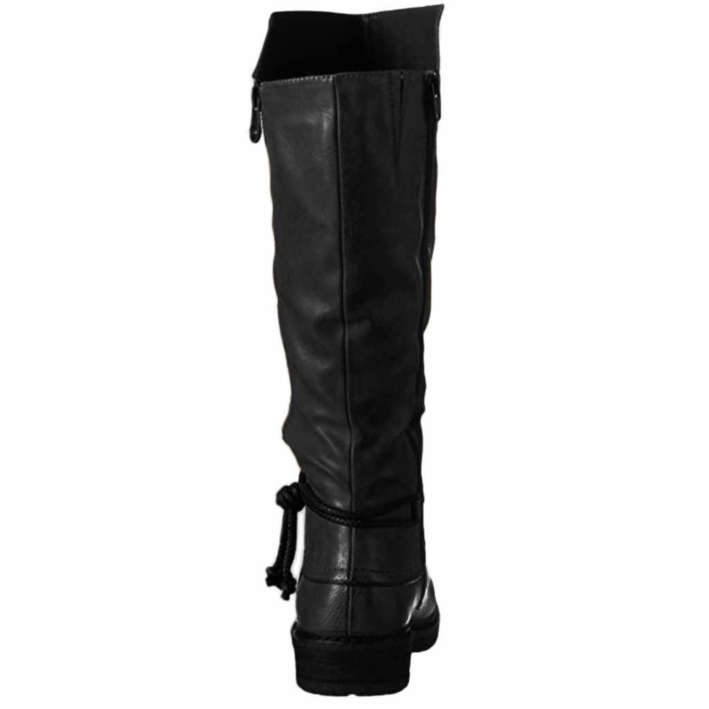 Women Leahter Knee High Boots Fashion Folding Slip on Winter High Boots Casual Low Heels White Black Long Slim Boots Ladies 2020
